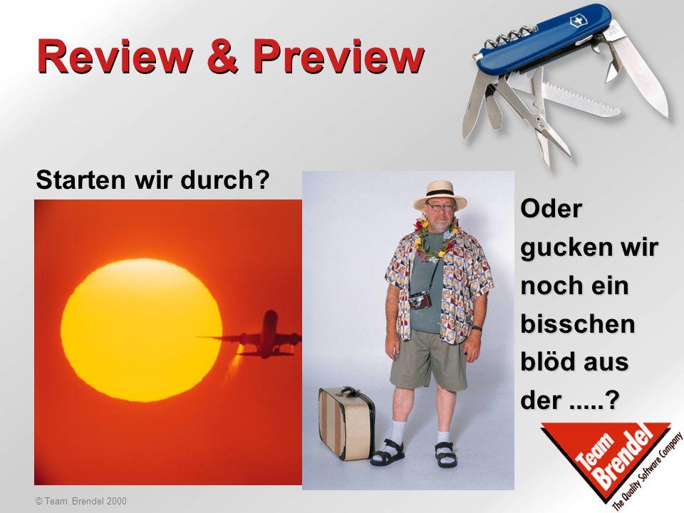 © Team Brendel 2000 Agenda 28.1.2000 Vormittag: 11.00Review & Preview 11.00Budgets 12.00Heinz Hüll, Microsoft 12:30Mittagessen