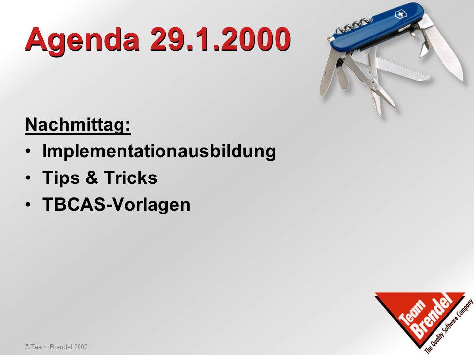 © Team Brendel 2000 Produkte-News Neue Produkte und Versionen: -WinCard CAS 5.5 -WinCard Pro 4.5 -WinCard Call Center Registerlappen, Autoeinträge, Da