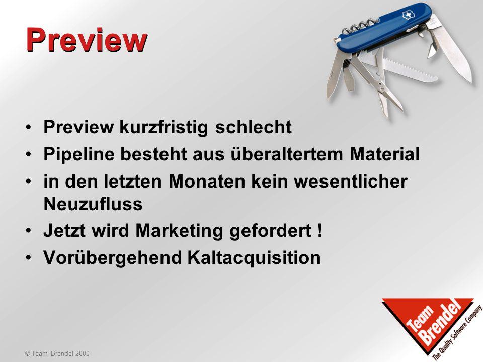 © Team Brendel 2000 Review & Preview AE vom 1.12.1999 bis 30.1.2000: -Enzym Labor, CAS, 20L, 41K, 33S, 5W -Artemedic, WCP, 11L, 9K, 3S, 1W -Oertli Services, CAS, 5L, 20K, 11S, 1.6W Neue/heisse Offerten: -Publicitas 500K (Schlussspurt) -Rovo Neonlicht 10 CAS -Christ AG, 60 CAS -Aquametro, 45 CAS