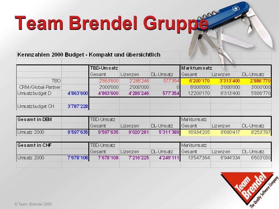 © Team Brendel 2000 Budgets 2000 Marktumsatz Gesamt: DEM 17 Mio. -davon Lizenzen: DEM 8.6 Mio. -davon Services: DEM 8.2 Mio. Marktumsatz TBO/TBP: DEM