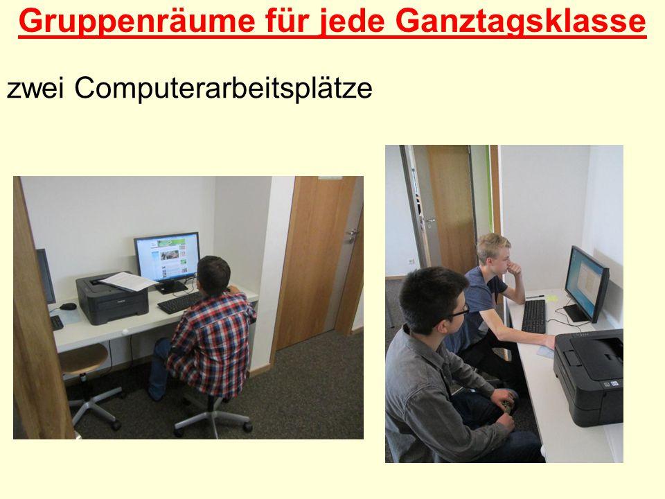 Gruppenräume für jede Ganztagsklasse zwei Computerarbeitsplätze