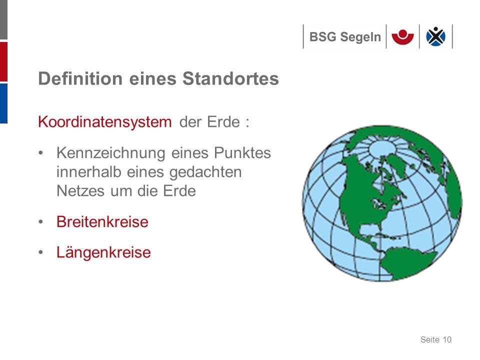 Seite 10 Definition eines Standortes Koordinatensystem der Erde : Kennzeichnung eines Punktes innerhalb eines gedachten Netzes um die Erde Breitenkreise Längenkreise
