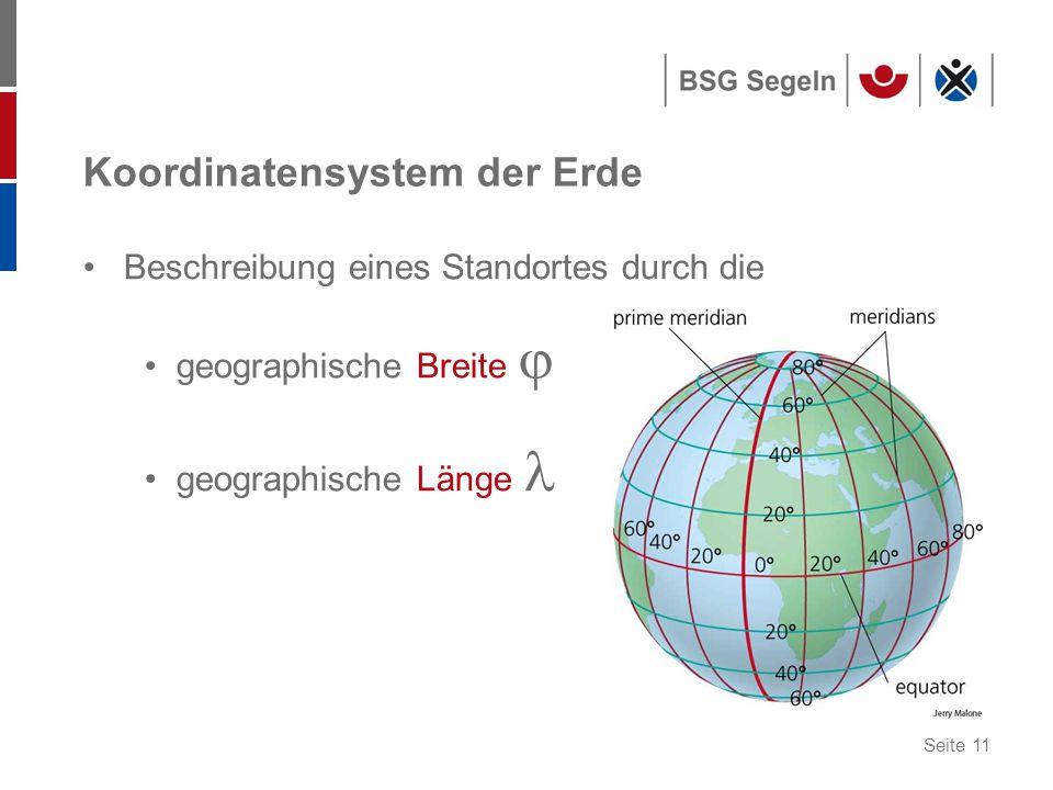 Seite 11 Koordinatensystem der Erde Beschreibung eines Standortes durch die geographische Breite  geographische Länge