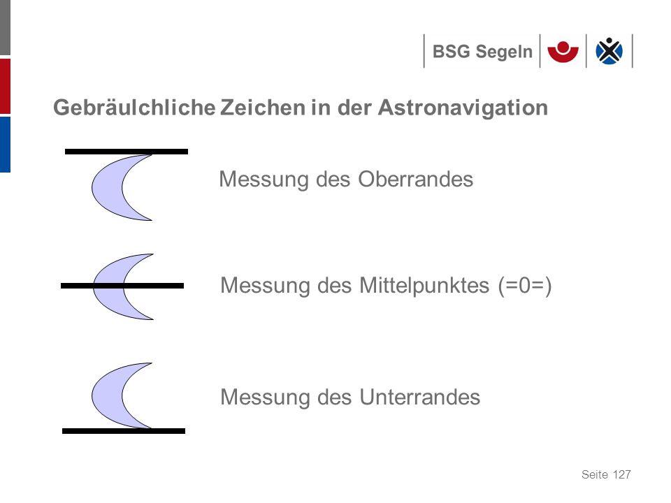 Seite 127 Gebräulchliche Zeichen in der Astronavigation Messung des Oberrandes Messung des Mittelpunktes (=0=) Messung des Unterrandes