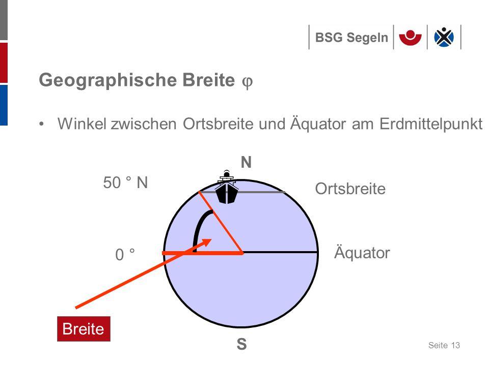 Seite 13 0 ° Äquator N S 50 ° N Ortsbreite Breite Geographische Breite  Winkel zwischen Ortsbreite und Äquator am Erdmittelpunkt