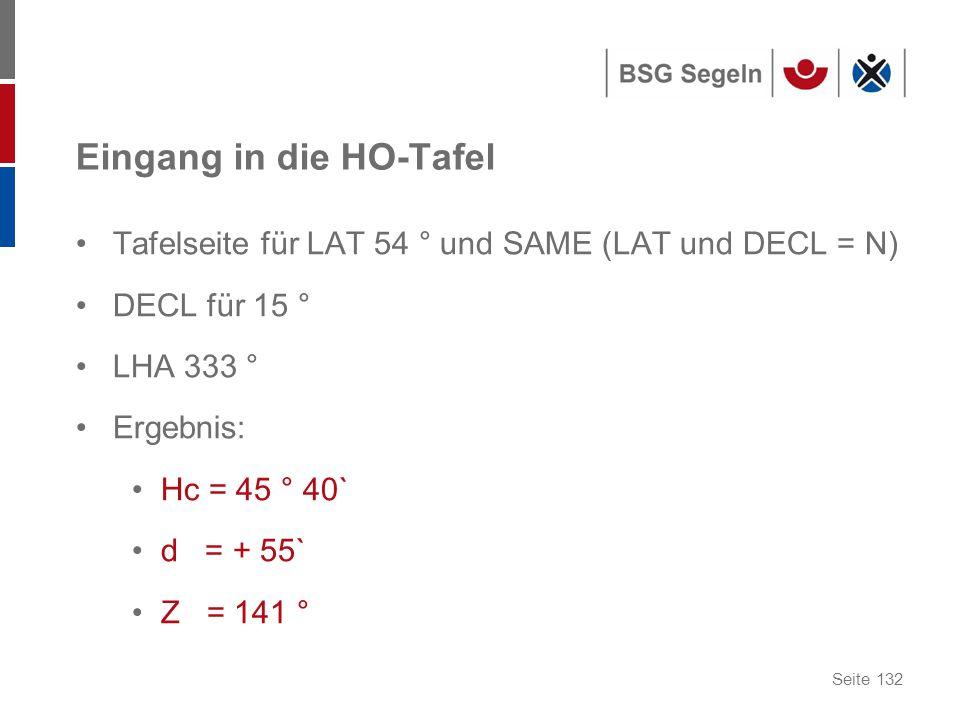 Seite 132 Eingang in die HO-Tafel Tafelseite für LAT 54 ° und SAME (LAT und DECL = N) DECL für 15 ° LHA 333 ° Ergebnis: Hc = 45 ° 40` d = + 55` Z = 141 °