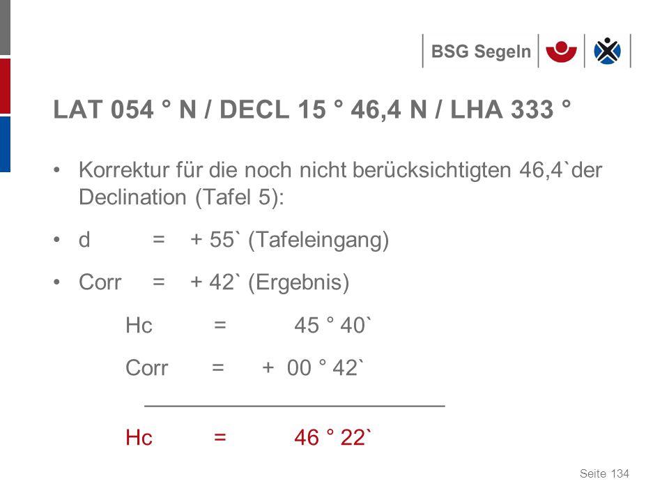 Seite 134 LAT 054 ° N / DECL 15 ° 46,4 N / LHA 333 ° Korrektur für die noch nicht berücksichtigten 46,4`der Declination (Tafel 5): d = + 55` (Tafeleingang) Corr = + 42` (Ergebnis) Hc = 45 ° 40` Corr = + 00 ° 42` ________________________ Hc = 46 ° 22`
