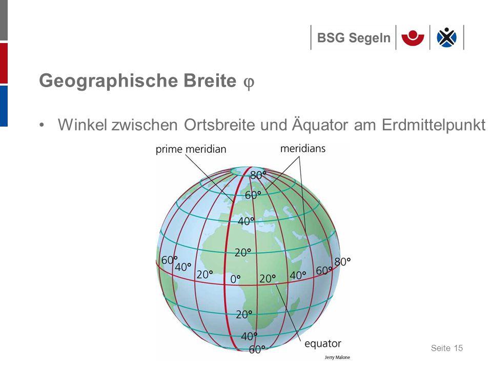 Seite 15 Geographische Breite  Winkel zwischen Ortsbreite und Äquator am Erdmittelpunkt