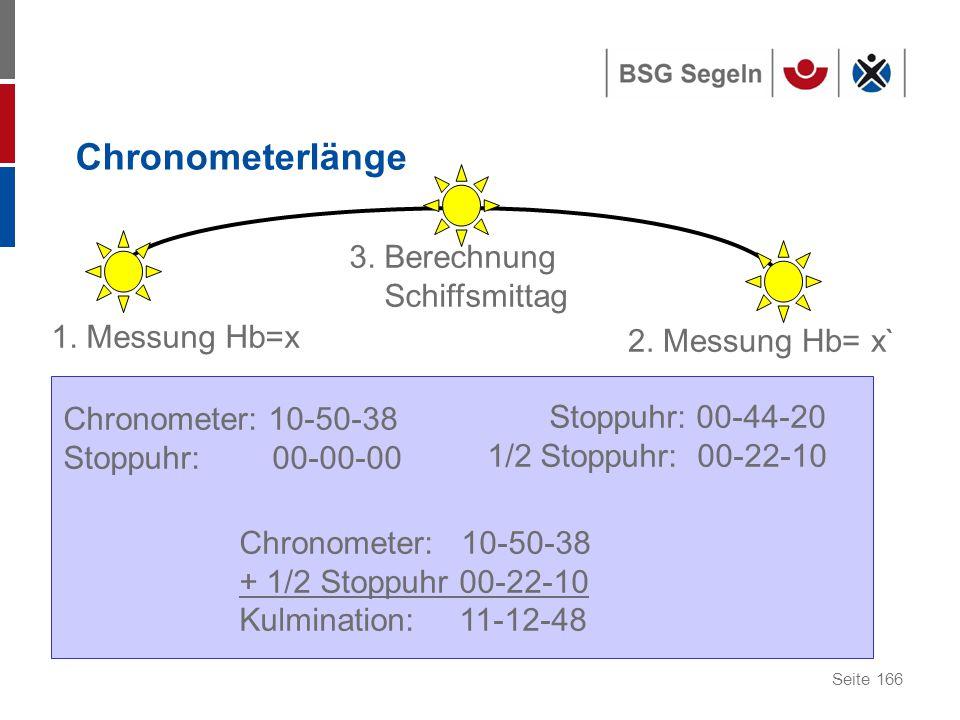 Seite 166 Chronometerlänge 1.Messung Hb=x 3. Berechnung Schiffsmittag 2.