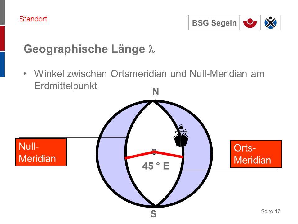 Seite 17 N S Null- Meridian 45 ° E Standort Orts- Meridian Geographische Länge Winkel zwischen Ortsmeridian und Null-Meridian am Erdmittelpunkt