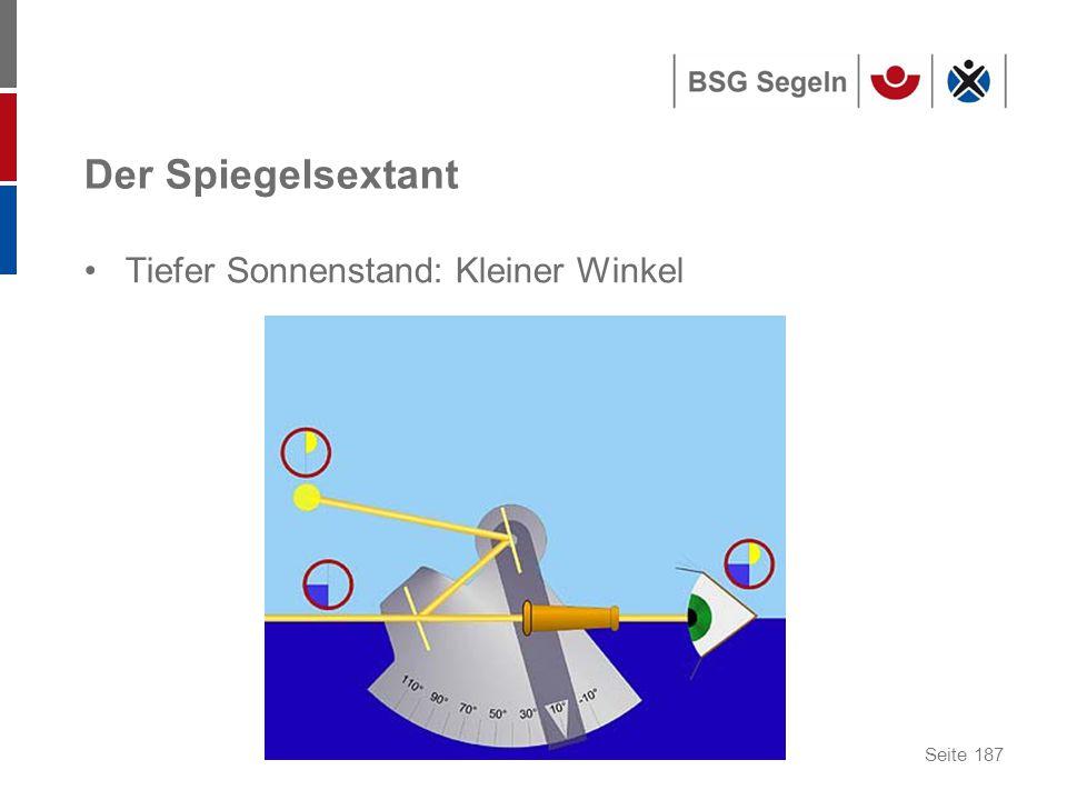 Seite 187 Der Spiegelsextant Tiefer Sonnenstand: Kleiner Winkel
