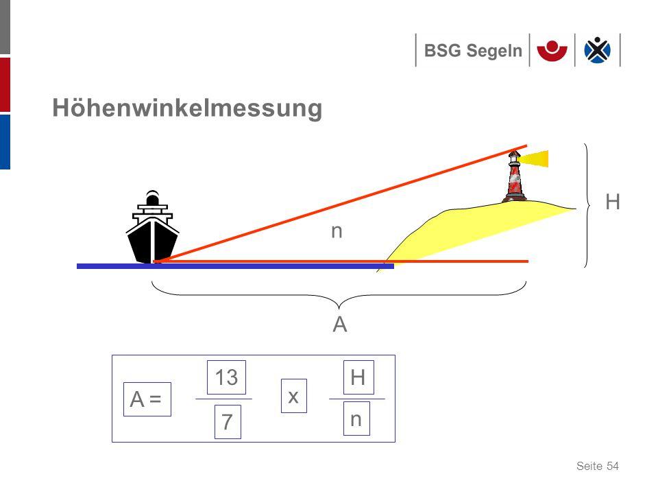Seite 54 Höhenwinkelmessung A = 13 7 x H n n H A