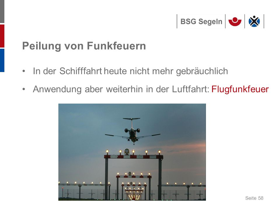 Seite 58 Peilung von Funkfeuern In der Schifffahrt heute nicht mehr gebräuchlich Anwendung aber weiterhin in der Luftfahrt: Flugfunkfeuer