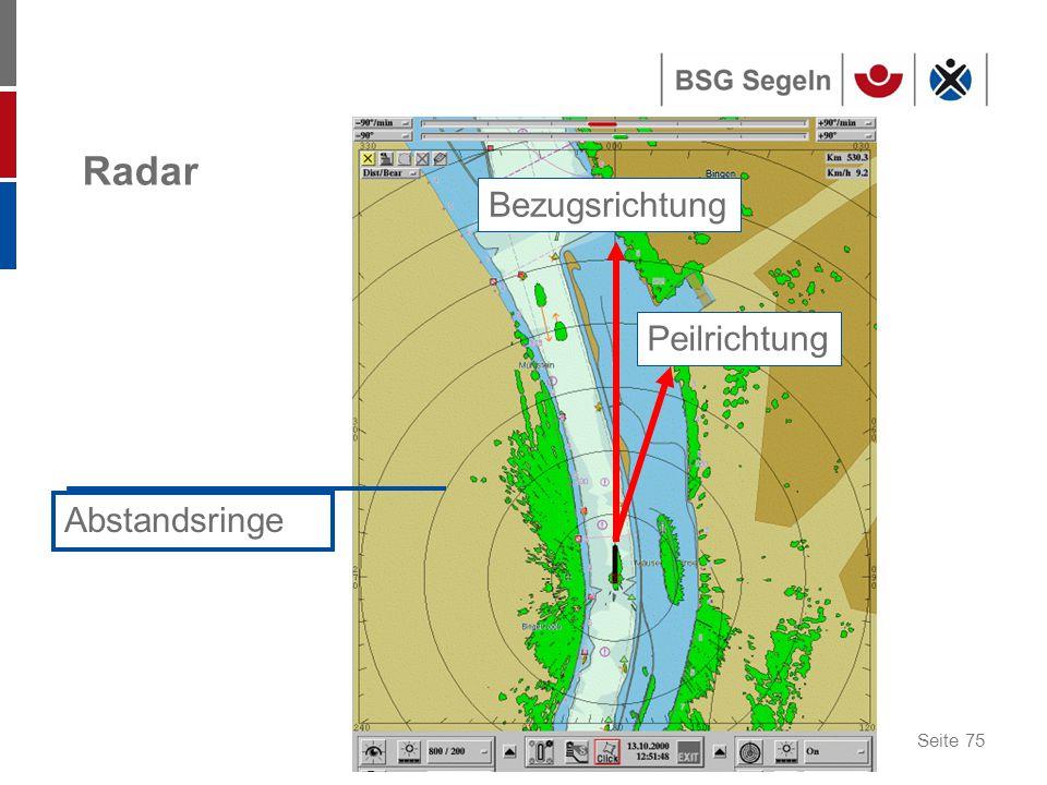 Seite 75 Radar Bezugsrichtung Peilrichtung Abstandsringe