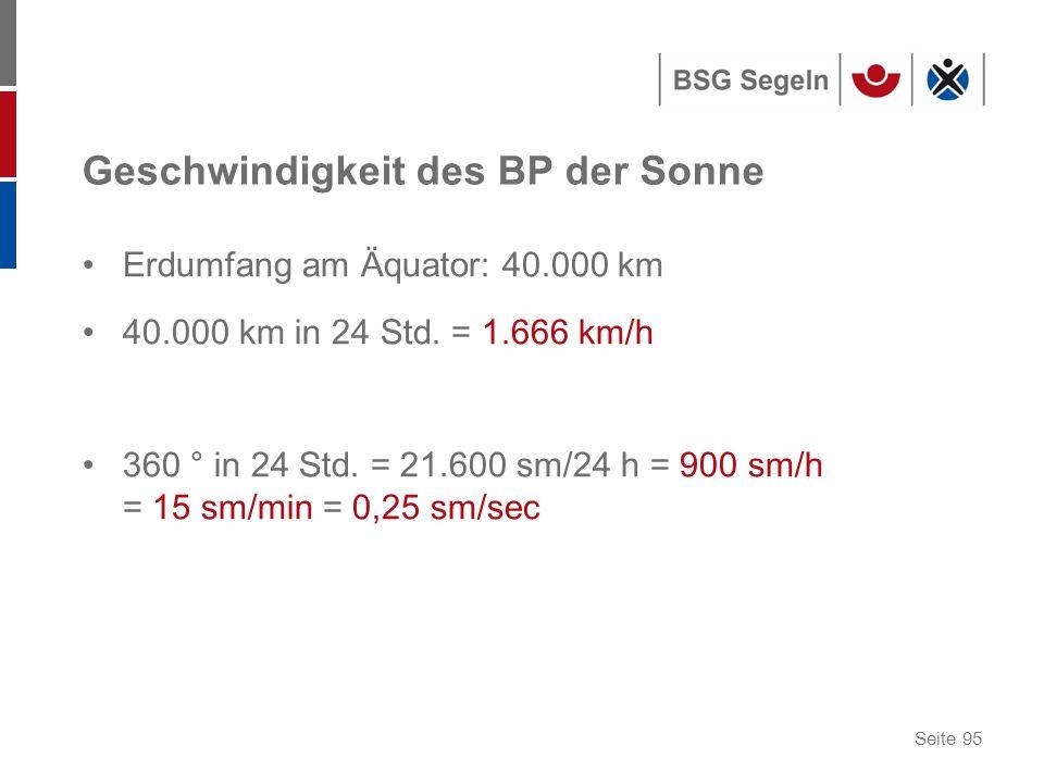 Seite 95 Geschwindigkeit des BP der Sonne Erdumfang am Äquator: 40.000 km 40.000 km in 24 Std.