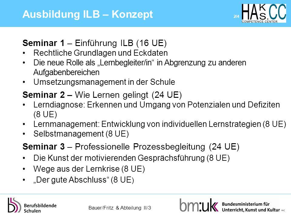 """Bauer/Fritz & Abteilung II/3 HK Seminar 1 – Einführung ILB (16 UE) Rechtliche Grundlagen und Eckdaten Die neue Rolle als """"Lernbegleiter/in"""" in Abgrenz"""