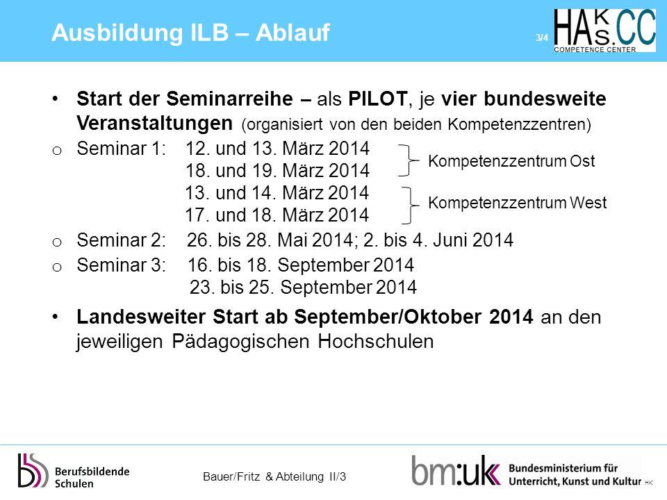 Bauer/Fritz & Abteilung II/3 HK Start der Seminarreihe – als PILOT, je vier bundesweite Veranstaltungen (organisiert von den beiden Kompetenzzentren)