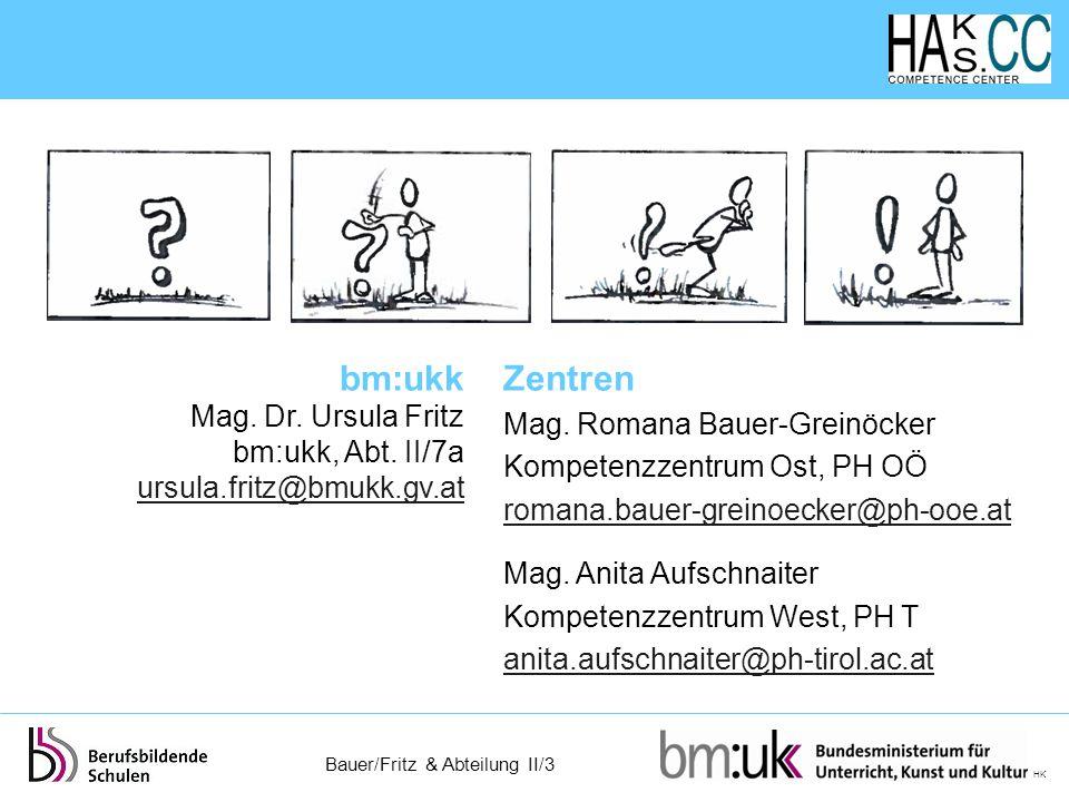 Bauer/Fritz & Abteilung II/3 HK Zentren Mag. Romana Bauer-Greinöcker Kompetenzzentrum Ost, PH OÖ romana.bauer-greinoecker@ph-ooe.at Mag. Anita Aufschn