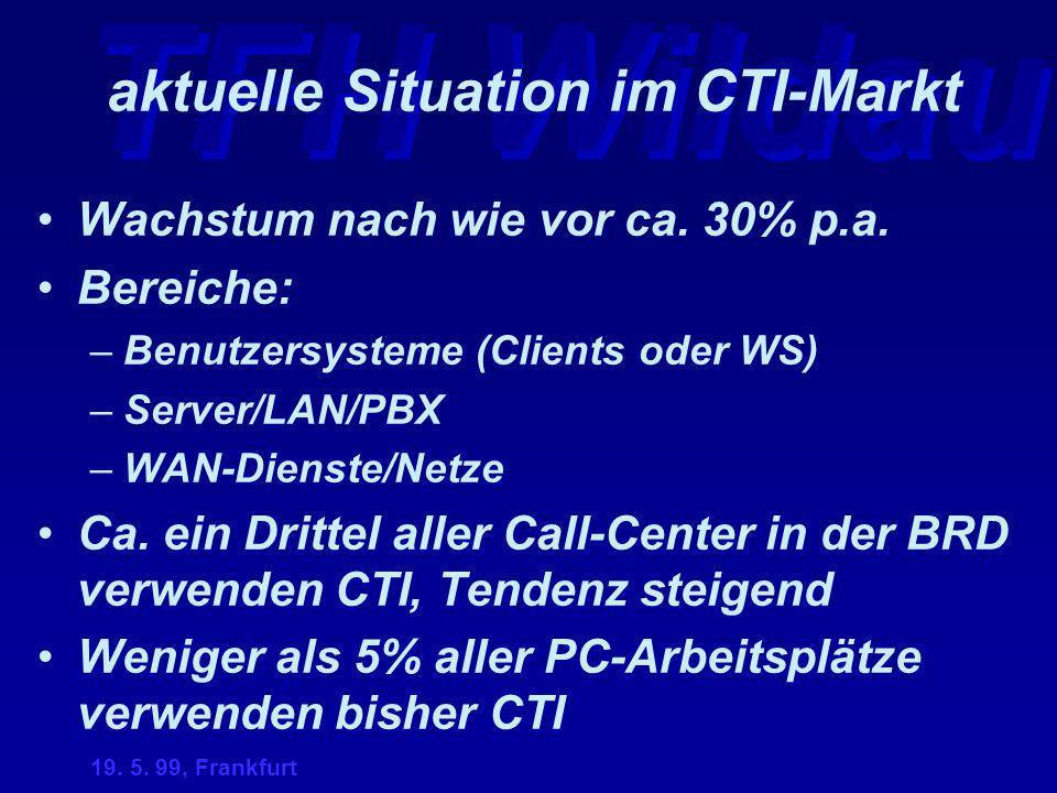 TFH Wildau 19. 5. 99, Frankfurt aktuelle Situation im CTI-Markt Wachstum nach wie vor ca. 30% p.a. Bereiche: –Benutzersysteme (Clients oder WS) –Serve