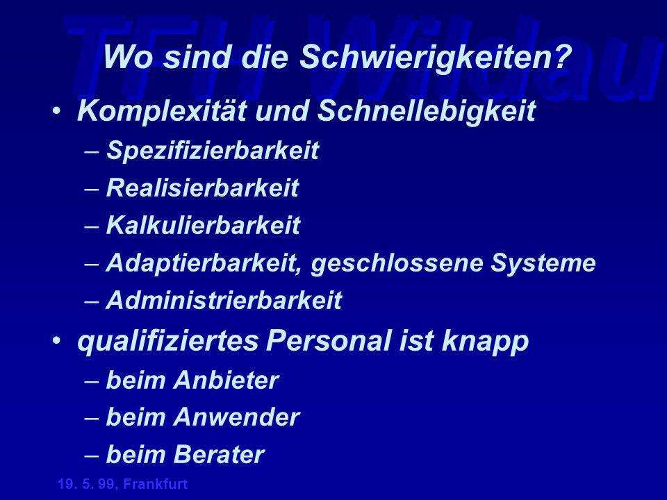 TFH Wildau 19. 5. 99, Frankfurt Wo sind die Schwierigkeiten? Komplexität und Schnellebigkeit –Spezifizierbarkeit –Realisierbarkeit –Kalkulierbarkeit –