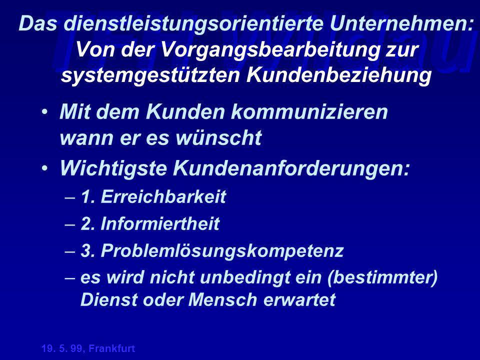 TFH Wildau 19. 5. 99, Frankfurt Das dienstleistungsorientierte Unternehmen: Von der Vorgangsbearbeitung zur systemgestützten Kundenbeziehung Mit dem K