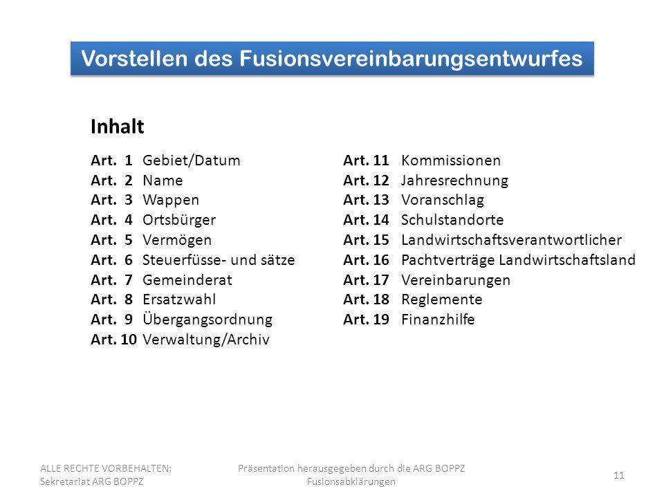 11 Vorstellen des Fusionsvereinbarungsentwurfes Inhalt Art. 1Gebiet/DatumArt. 11 Kommissionen Art. 2NameArt. 12 Jahresrechnung Art. 3WappenArt. 13 Vor