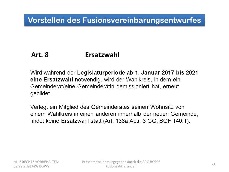 21 Vorstellen des Fusionsvereinbarungsentwurfes Art.