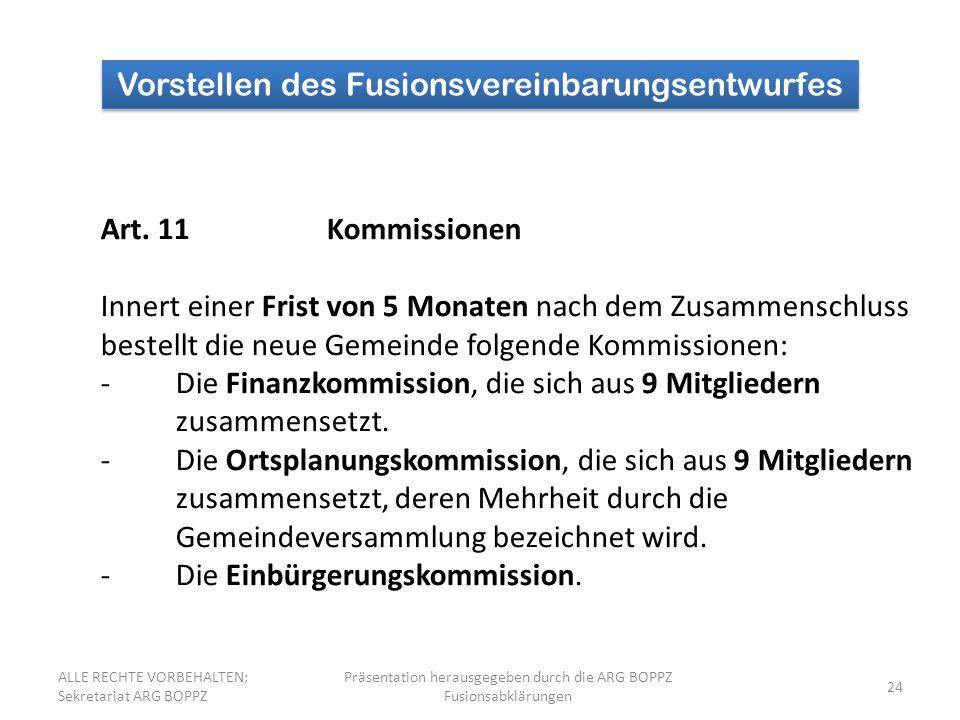 24 Vorstellen des Fusionsvereinbarungsentwurfes Art.