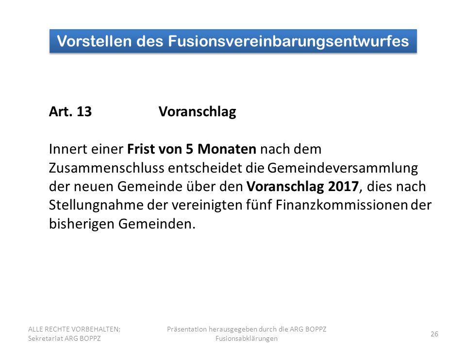 26 Vorstellen des Fusionsvereinbarungsentwurfes Art.