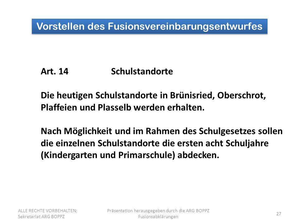 27 Vorstellen des Fusionsvereinbarungsentwurfes Art.