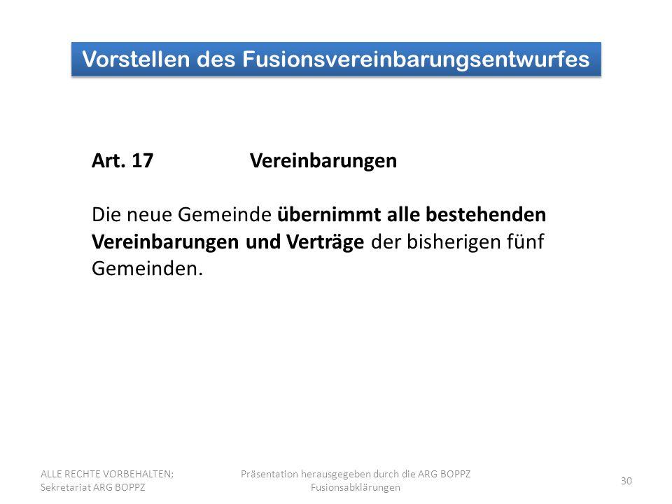 30 Vorstellen des Fusionsvereinbarungsentwurfes Art.