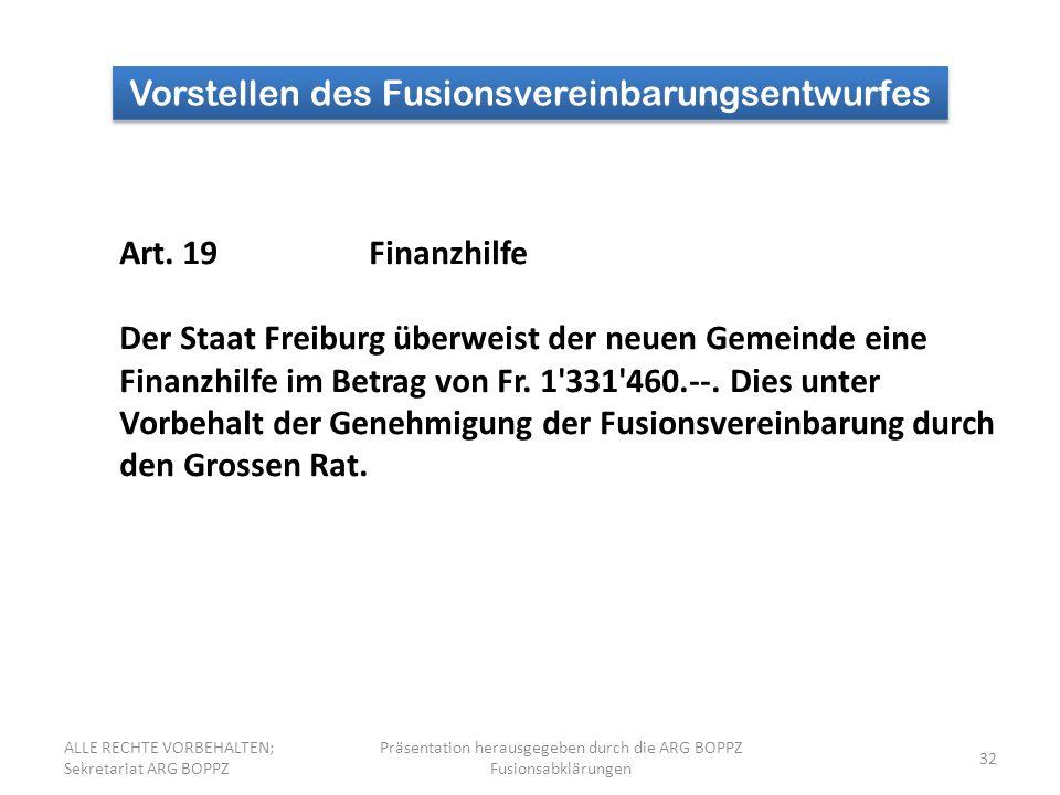 32 Vorstellen des Fusionsvereinbarungsentwurfes Art.