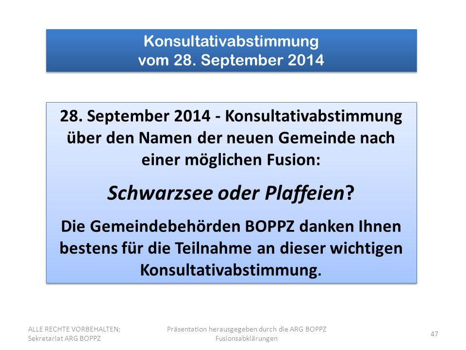 47 Konsultativabstimmung vom 28. September 2014 Konsultativabstimmung vom 28. September 2014 28. September 2014 - Konsultativabstimmung über den Namen