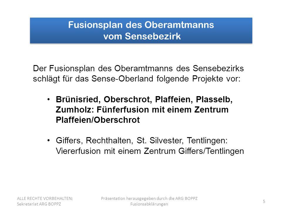 36 Finanzhilfe des Staates Freiburg Berechnung der Finanzhilfe bei einer Fünferfusion der Gemeinden Brünisried, Oberschrot, Plaffeien, Plasselb und Zumholz Total 5 121 Einwohner x Fr.