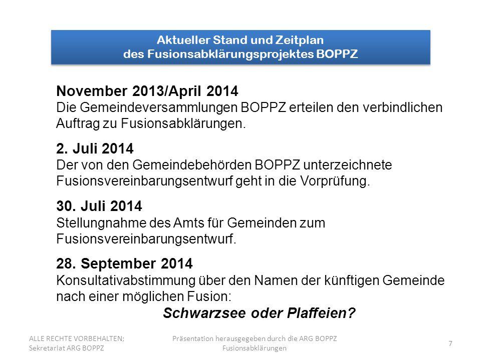 7 Aktueller Stand und Zeitplan des Fusionsabklärungsprojektes BOPPZ Aktueller Stand und Zeitplan des Fusionsabklärungsprojektes BOPPZ November 2013/April 2014 Die Gemeindeversammlungen BOPPZ erteilen den verbindlichen Auftrag zu Fusionsabklärungen.