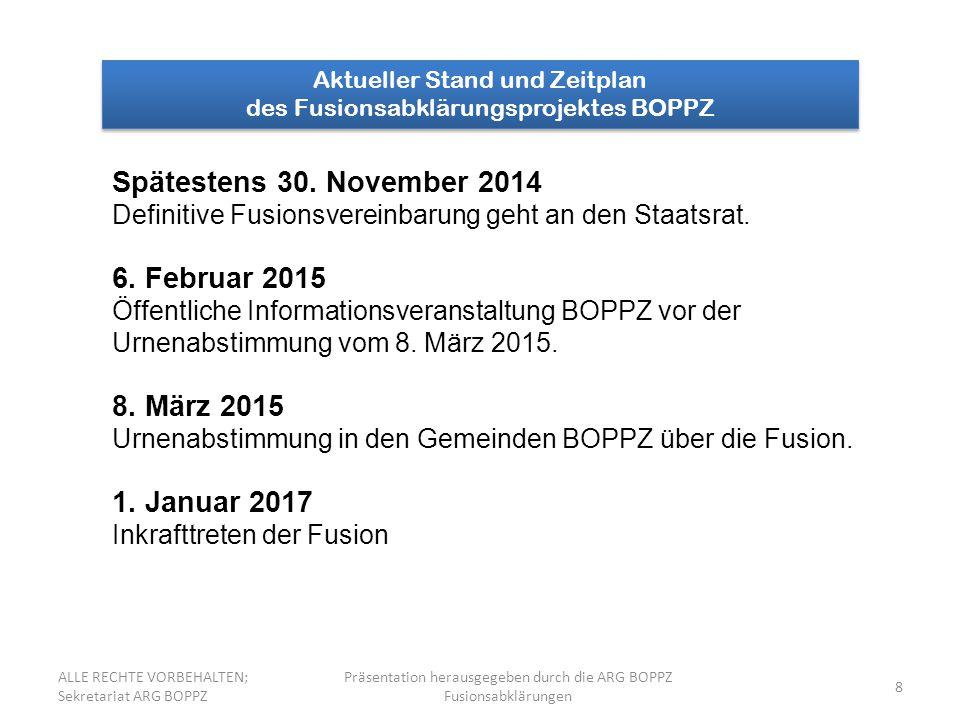 8 Aktueller Stand und Zeitplan des Fusionsabklärungsprojektes BOPPZ Aktueller Stand und Zeitplan des Fusionsabklärungsprojektes BOPPZ Spätestens 30. N