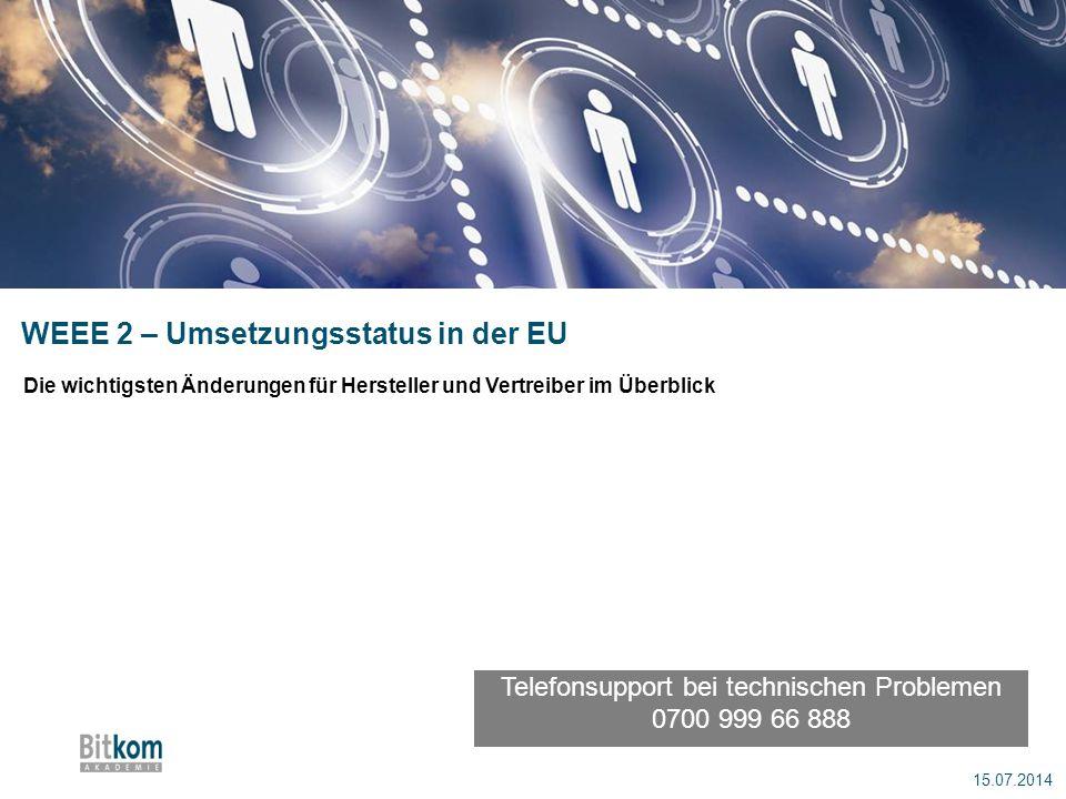 WEEE 2 – Umsetzungsstatus in der EU 15.07.2014 Die wichtigsten Änderungen für Hersteller und Vertreiber im Überblick Telefonsupport bei technischen Pr