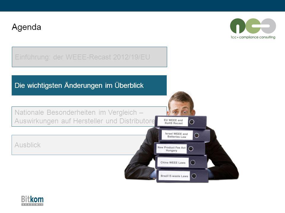 Agenda Einführung: der WEEE-Recast 2012/19/EU Die wichtigsten Änderungen im Überblick Nationale Besonderheiten im Vergleich – Auswirkungen auf Herstel