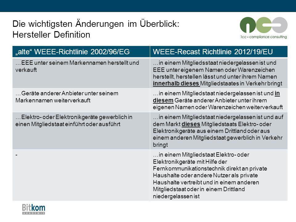 """Die wichtigsten Änderungen im Überblick: Hersteller Definition """"alte"""" WEEE-Richtlinie 2002/96/EGWEEE-Recast Richtlinie 2012/19/EU …EEE unter seinem Ma"""