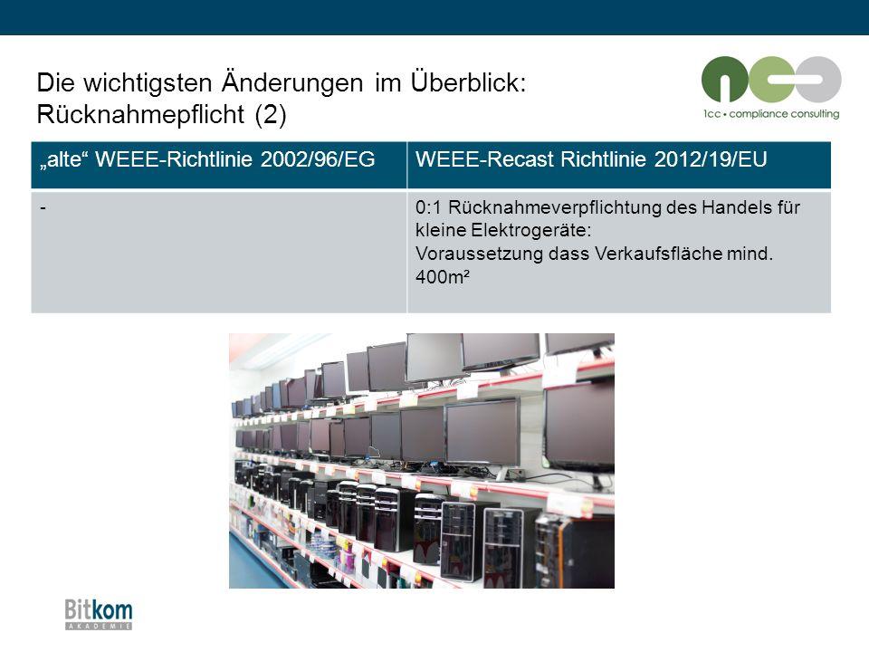 """Die wichtigsten Änderungen im Überblick: Rücknahmepflicht (2) """"alte"""" WEEE-Richtlinie 2002/96/EGWEEE-Recast Richtlinie 2012/19/EU -0:1 Rücknahmeverpfli"""