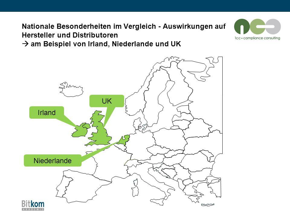 Nationale Besonderheiten im Vergleich - Auswirkungen auf Hersteller und Distributoren  am Beispiel von Irland, Niederlande und UK Irland UK Niederlan