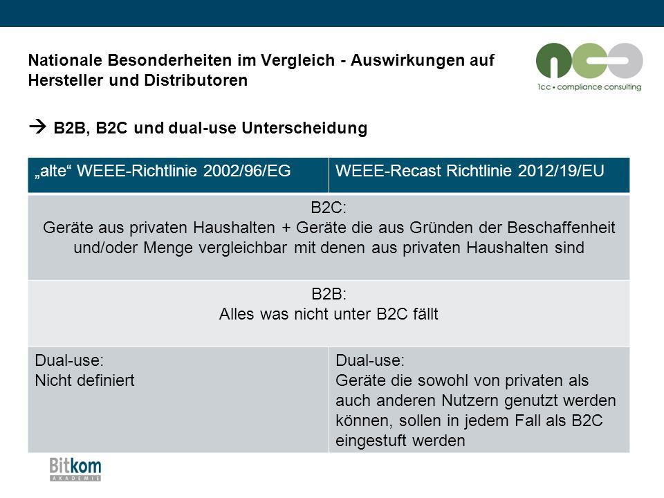 """Nationale Besonderheiten im Vergleich - Auswirkungen auf Hersteller und Distributoren  B2B, B2C und dual-use Unterscheidung """"alte"""" WEEE-Richtlinie 20"""