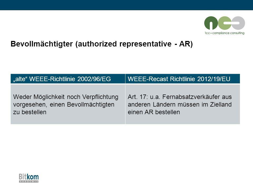 """Bevollmächtigter (authorized representative - AR) """"alte"""" WEEE-Richtlinie 2002/96/EGWEEE-Recast Richtlinie 2012/19/EU Weder Möglichkeit noch Verpflicht"""