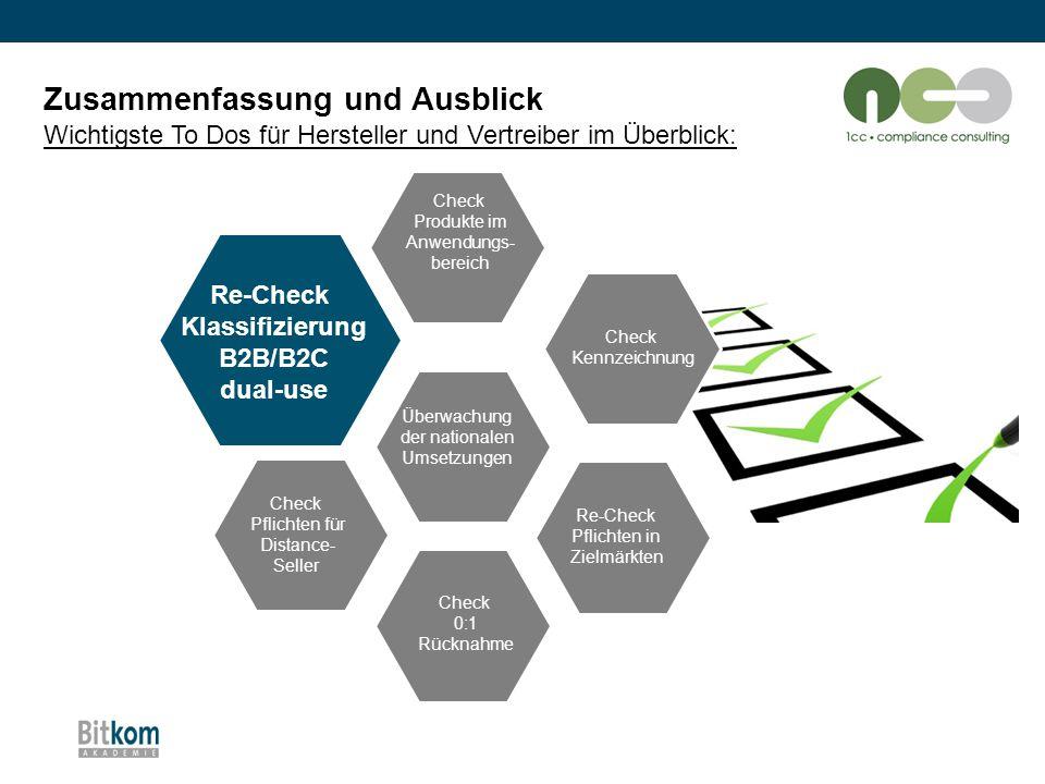 Zusammenfassung und Ausblick Wichtigste To Dos für Hersteller und Vertreiber im Überblick: Check Produkte im Anwendungs- bereich Check Kennzeichnung R