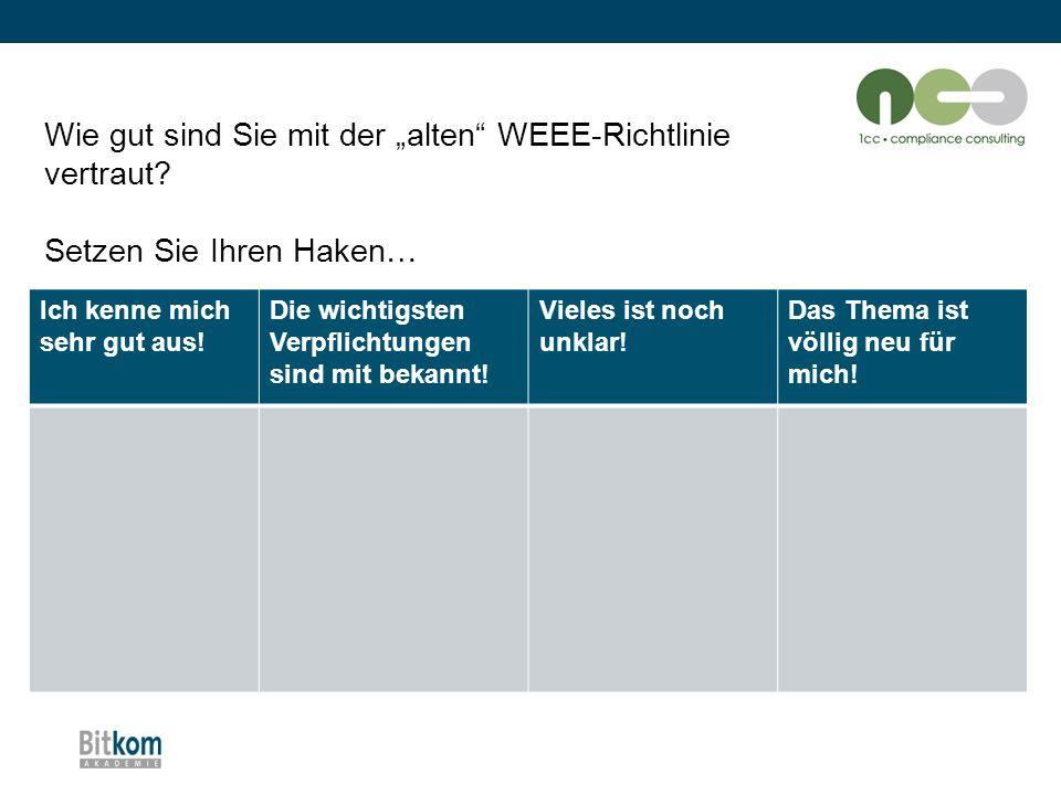 """Die wichtigsten Änderungen im Überblick: Rücknahmepflicht (1) """"alte WEEE-Richtlinie 2002/96/EGWEEE-Recast Richtlinie 2012/19/EU Grundsätzlich 1:1 Rücknahmepflicht des Handels"""