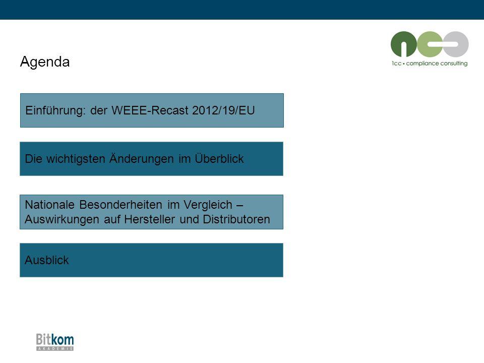 """Die wichtigsten Änderungen im Überblick: Rücknahmepflicht (2) """"alte WEEE-Richtlinie 2002/96/EGWEEE-Recast Richtlinie 2012/19/EU -0:1 Rücknahmeverpflichtung des Handels für kleine Elektrogeräte: Voraussetzung dass Verkaufsfläche mind."""
