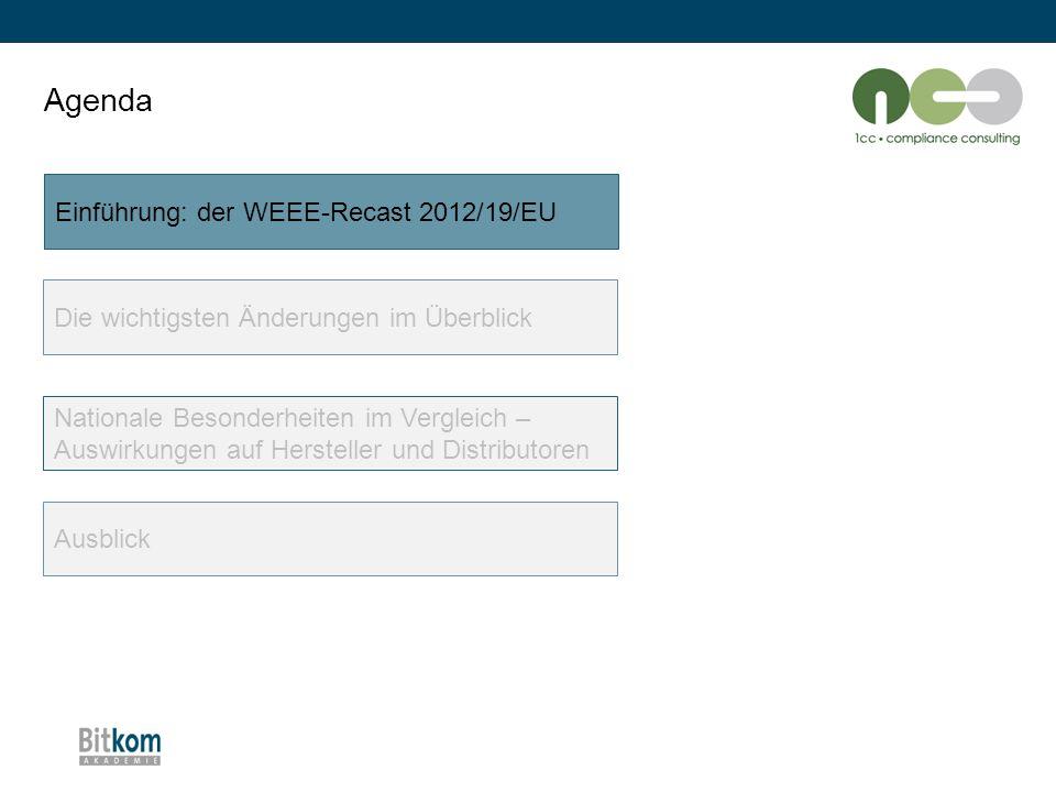 """Die wichtigsten Änderungen im Überblick: Grenzüberschreitende Verbringung """"alte WEEE-Richtlinie 2002/96/EG WEEE-Recast Richtlinie 2012/19/EU Keine Regelung vorhandenRegelung zur grenzüberschreitenden Verbringung von WEEE/ gebrauchtem EEE in Annex 6: -Grenzüberschreitende Verbringung von Gebrauchtgeräten nur erlaubt, wenn diese: - voll funktionsfähig sind, und - dies nach den Vorgaben des Anhangs VI nachgewiesen werden kann Ausnahme von dieser Anforderung für Gebrauchtgeräte, die (kumulativ) -im Rahmen einer zwischenbetrieblichen Übergabevereinbarung -als fehlerhaft zur Instandsetzung -im Rahmen der Gewährleistung -mit der Absicht der Wiederverwendung -an den Hersteller oder einen in seinem Namen handelnden Dritten zurückgesandt werden."""
