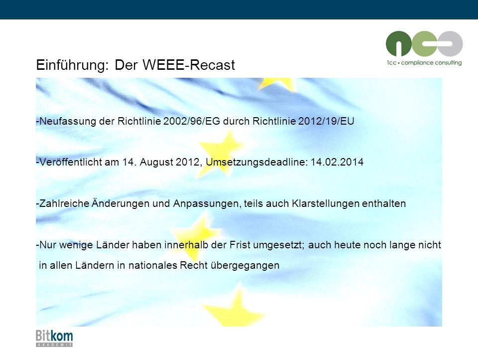 """Die wichtigsten Änderungen im Überblick: Sammelquoten """"alte WEEE-Richtlinie 2002/96/EG WEEE-Recast Richtlinie 2012/19/EU Sammelquote: Mind."""