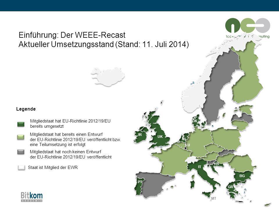 Einführung: Der WEEE-Recast Aktueller Umsetzungsstand (Stand: 11. Juli 2014) BG MT Mitgliedstaat hat EU-Richtlinie 2012/19/EU bereits umgesetzt Mitgli