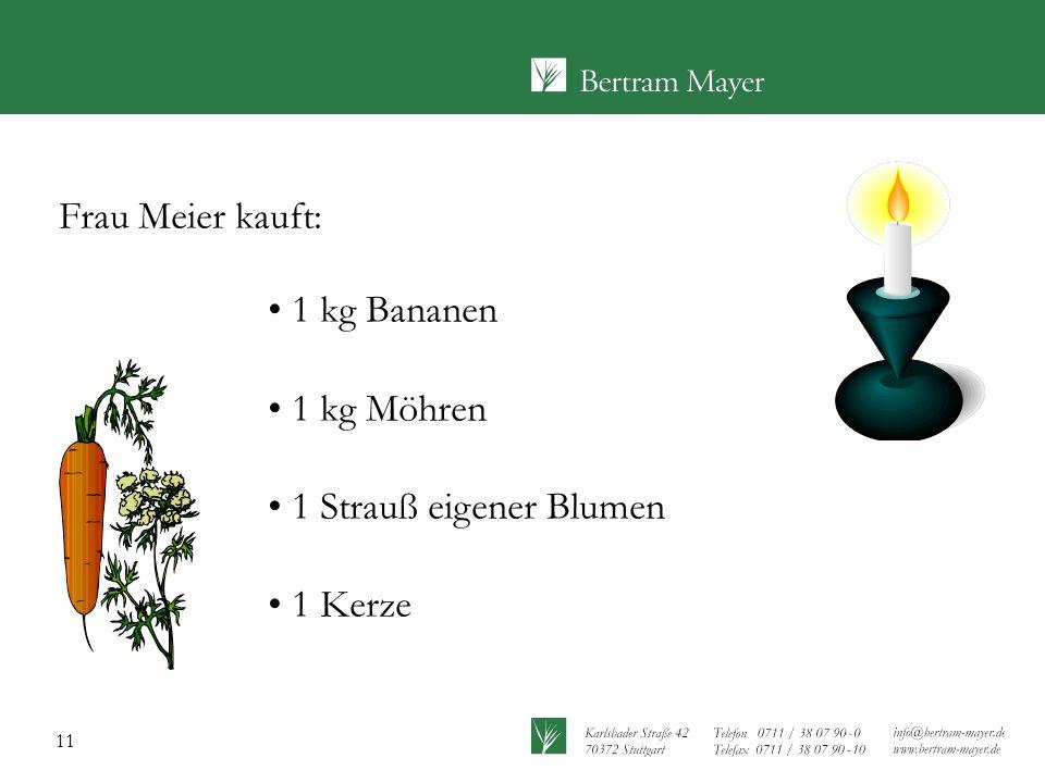 11 Frau Meier kauft: 1 kg Bananen 1 kg Möhren 1 Strauß eigener Blumen 1 Kerze